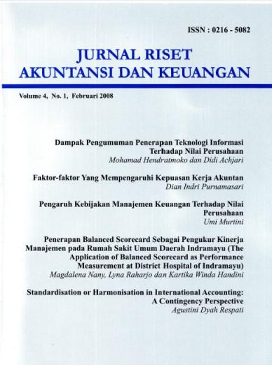 Jurnal Riset Akuntansi dan Keuangan Vol 4 No 1, 2008