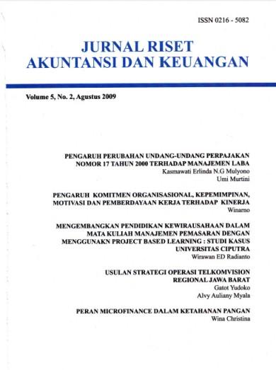 Jurnal Riset Akuntansi dan Keuangan Vol 5, No 2, 2009