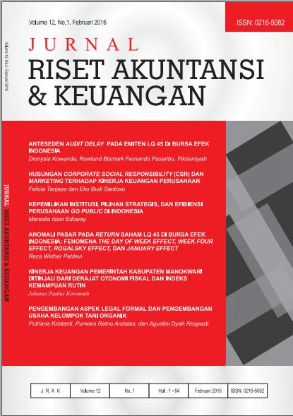 Jurnal Riset Akuntansi dan Keuangan Vol 12 No 1, 2016