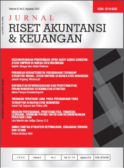 Jurnal Riset Akuntansi dan Keuangan Vol 8 No 2, 2012